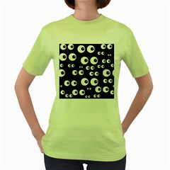Seamless Eyes Tile Pattern Women s Green T-Shirt
