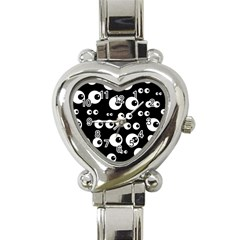 Seamless Eyes Tile Pattern Heart Italian Charm Watch
