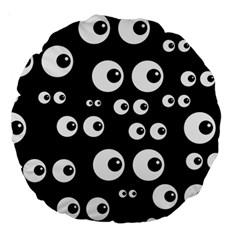 Seamless Eyes Tile Pattern Large 18  Premium Round Cushions