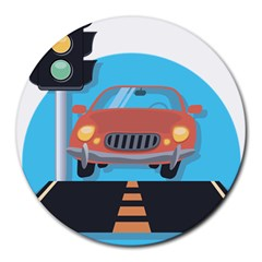 Semaphore Car Road City Traffic Round Mousepads