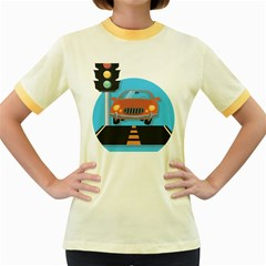Semaphore Car Road City Traffic Women s Fitted Ringer T-Shirts