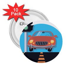 Semaphore Car Road City Traffic 2.25  Buttons (10 pack)
