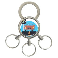 Semaphore Car Road City Traffic 3-Ring Key Chains