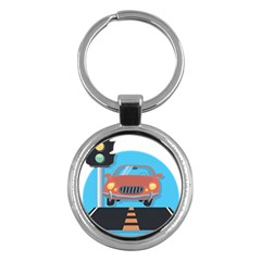 Semaphore Car Road City Traffic Key Chains (Round)