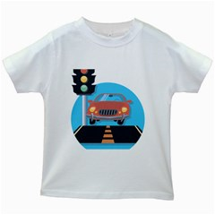 Semaphore Car Road City Traffic Kids White T-Shirts