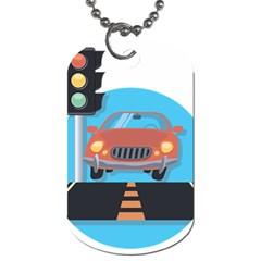 Semaphore Car Road City Traffic Dog Tag (Two Sides)