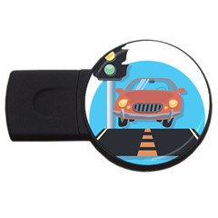 Semaphore Car Road City Traffic USB Flash Drive Round (1 GB)