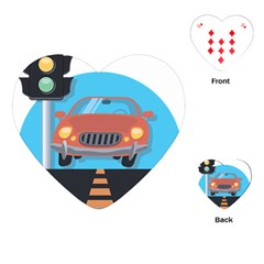 Semaphore Car Road City Traffic Playing Cards (Heart)