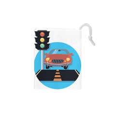 Semaphore Car Road City Traffic Drawstring Pouches (XS)