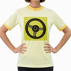 Steering Wheel Women s Fitted Ringer T-Shirts