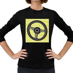 Steering Wheel Women s Long Sleeve Dark T-Shirts