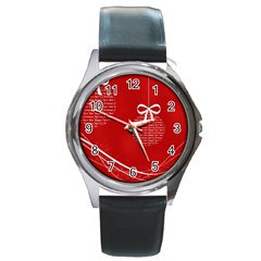Simple Merry Christmas Round Metal Watch