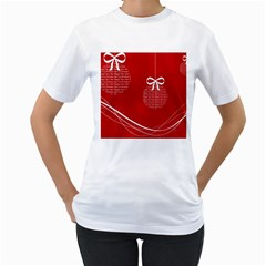 Simple Merry Christmas Women s T-Shirt (White) (Two Sided)