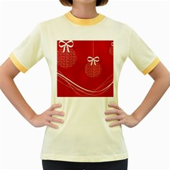 Simple Merry Christmas Women s Fitted Ringer T-Shirts