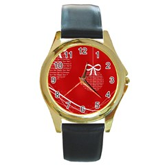 Simple Merry Christmas Round Gold Metal Watch
