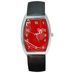 Simple Merry Christmas Barrel Style Metal Watch