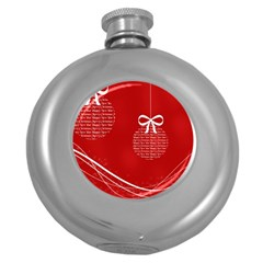 Simple Merry Christmas Round Hip Flask (5 oz)