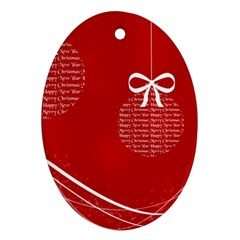 Simple Merry Christmas Oval Ornament (Two Sides)