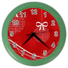 Simple Merry Christmas Color Wall Clocks