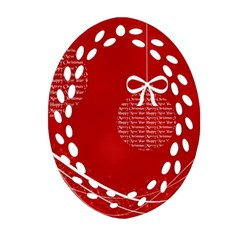 Simple Merry Christmas Ornament (Oval Filigree)