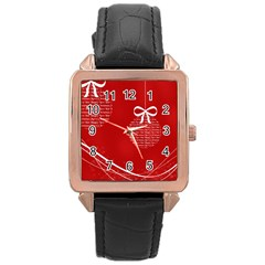 Simple Merry Christmas Rose Gold Leather Watch