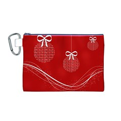 Simple Merry Christmas Canvas Cosmetic Bag (M)