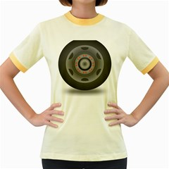 Tire Tyre Car Transport Wheel Women s Fitted Ringer T-Shirts