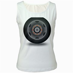 Tire Tyre Car Transport Wheel Women s White Tank Top