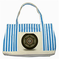 Tire Tyre Car Transport Wheel Striped Blue Tote Bag