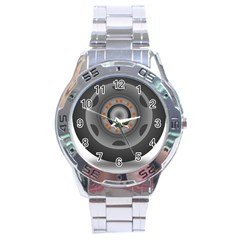 Tire Tyre Car Transport Wheel Stainless Steel Analogue Watch