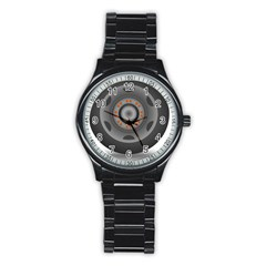 Tire Tyre Car Transport Wheel Stainless Steel Round Watch