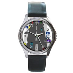 Traffic Road Driving Cars Highway Round Metal Watch