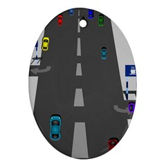 Traffic Road Driving Cars Highway Ornament (Oval)