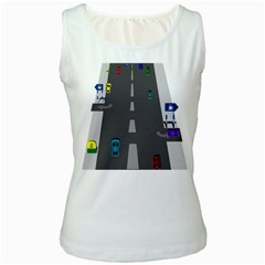 Traffic Road Driving Cars Highway Women s White Tank Top