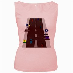 Traffic Road Driving Cars Highway Women s Pink Tank Top