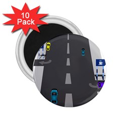 Traffic Road Driving Cars Highway 2.25  Magnets (10 pack)
