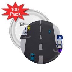 Traffic Road Driving Cars Highway 2.25  Buttons (100 pack)