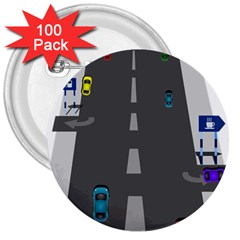 Traffic Road Driving Cars Highway 3  Buttons (100 pack)