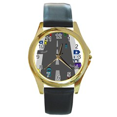Traffic Road Driving Cars Highway Round Gold Metal Watch