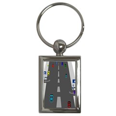 Traffic Road Driving Cars Highway Key Chains (Rectangle)