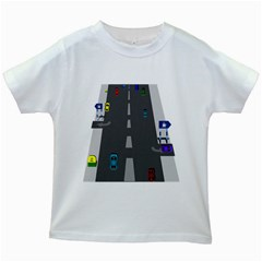 Traffic Road Driving Cars Highway Kids White T-Shirts