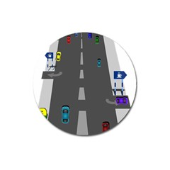 Traffic Road Driving Cars Highway Magnet 3  (Round)