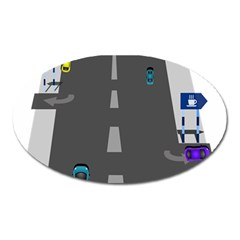 Traffic Road Driving Cars Highway Oval Magnet