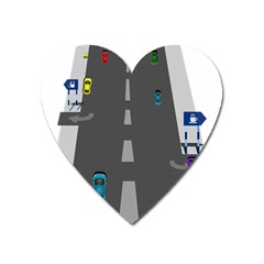 Traffic Road Driving Cars Highway Heart Magnet