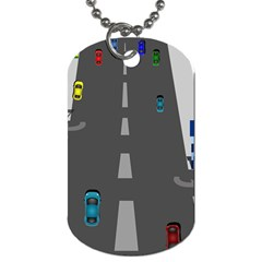 Traffic Road Driving Cars Highway Dog Tag (One Side)