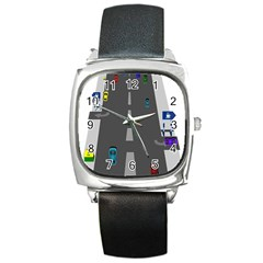 Traffic Road Driving Cars Highway Square Metal Watch