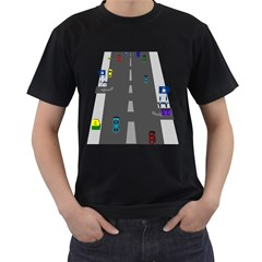 Traffic Road Driving Cars Highway Men s T-Shirt (Black) (Two Sided)