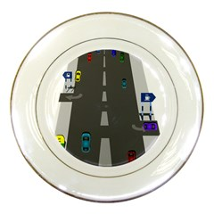Traffic Road Driving Cars Highway Porcelain Plates