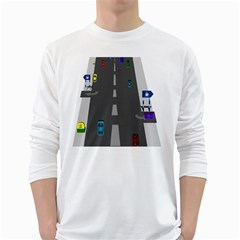 Traffic Road Driving Cars Highway White Long Sleeve T-Shirts