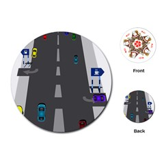 Traffic Road Driving Cars Highway Playing Cards (Round)